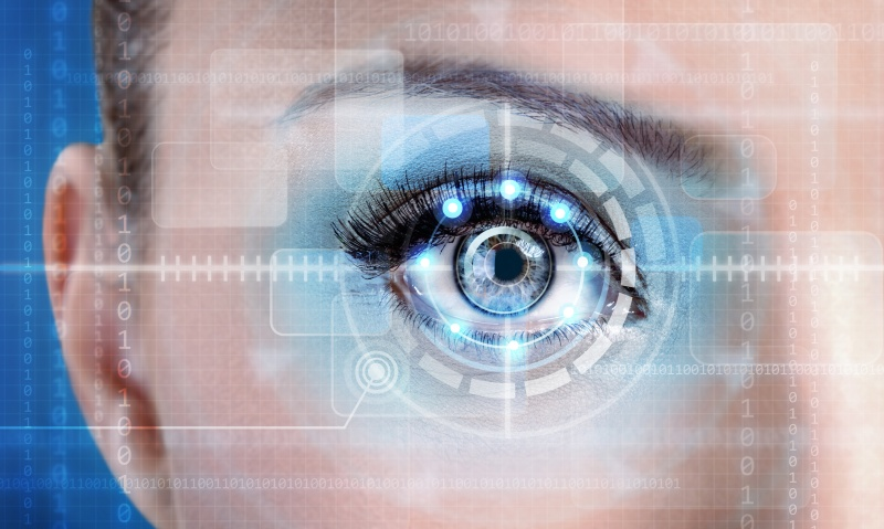 Technology scan female eye for security or identification